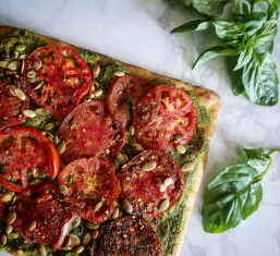 Pesto heirloom tomato flatbread
