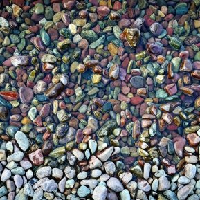 The famous rainbow pebbles at Lake McDonald, Glacier National park