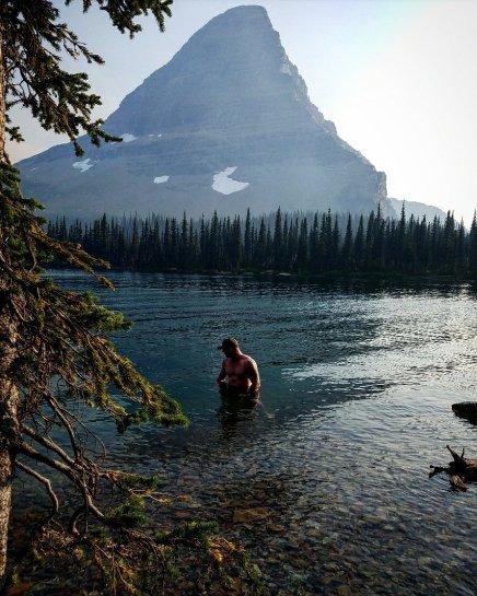 Hubby swimming in Hidden Lake