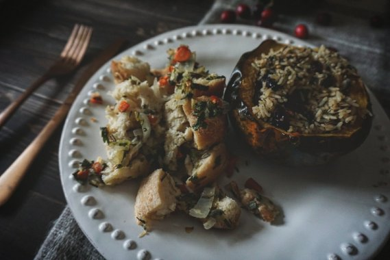 Stuffed acorn squash and stuffing